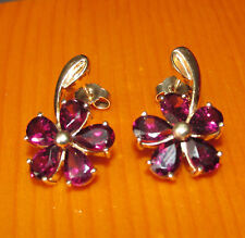STUNNING SECONDHAND GEMS TV  9ct YELLOW GOLD  RHODOLITE GARNET  STUD EARINGS
