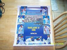 """1981 Oakland A's Vintage Poster 18"""" x 23"""" New Rickey Henderson Billy Martin"""