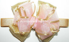 Frilly Light Pink Gold Bow Headband Organza Satin Girls Baby Infant Accessories