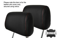 RED STITCH 2X FRONT HEADREST LEATHER SKIN COVERS FITS BMW 3 SERIES E36 92-99
