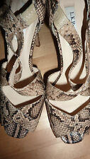L K Bennett SLIVER Taupe Heels 6.5 39.5 Snake Beige Leather Shoes 39 1/2 RARE!!!