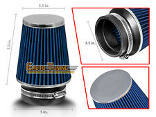 "BLUE 3.5"" Inches Inlet Cold Air Intake Cone Dry Type Narrow FILTER For Chevy"