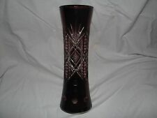 red Germany or Bohemian vintage VASE cut to clear LEAD CRYSTAL floral decor 13""