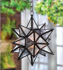 "Gorgeous Starlight ""MOROCCAN HANGING STAR LANTERN"" Candle Lamp NIB"