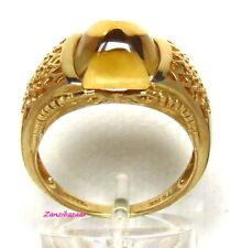 UNUSUAL 14K YELLOW GOLD SUGARLOAF CUT CITRINE SNAKE / SERPENT RING