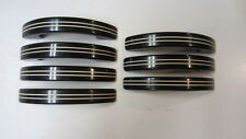 7) Vintage Art Deco Black & White Striped Bakelite Drawer Handles / Pulls