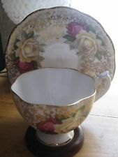 VINTAGE  QUEEN ANNE TEA CUP AND SAUCER GOLD CHINTZ SINGLE RED YELLOW ROSES