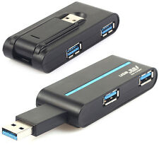 Portable High Speed 4 Ports USB 3.0/2.0 External Hub Adapter Black Practical