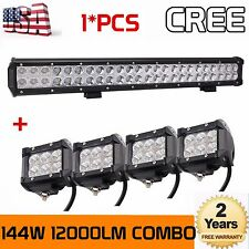 23INCH 144W CREE SPOT FLOOD WORK DRIVING LED LIGHT BAR 12V 24V+4x 4inch 18W Pods
