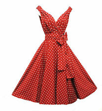 New Retro 1940s 1950s Vtg style  Red Polka Dot Full Skirted Swing Dress UK 16