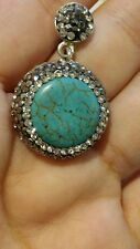 Turkish 5 Ct Round Druzy Turquoise Vintage 925 Sterling Silver  Coctail pendant