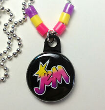 "**JEM** Holograms Necklace 1"" Button Pendant On Chain ~~USA Seller"
