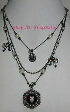 NEW BETSEY JOHNSON Skull Vintage Princess Goth Glam Black Pink Layered Necklace