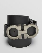 $460 SALVATORE FERRAGAMO BLACK OVERSIZED DOUBLE GANCINI LEATHER ITALY BELT 40