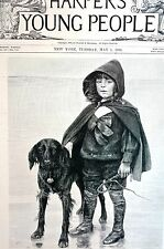 Comrades 1894 A BOY or GIRL and DOG w Bell at Waters Edge Matted Antique Print