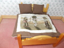 PINE  COLOURED DRESSED DOUBLE BED FOR A DOLLS HOUSE
