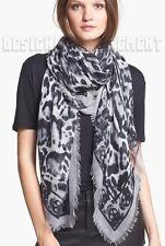 "ALEXANDER MCQUEEN gray ANIMALIER SKULL 52""-Square cashmere scarf NWT Authen $725"