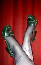 green heels leather-look fetish size 6 worn trashed used ladies footwear