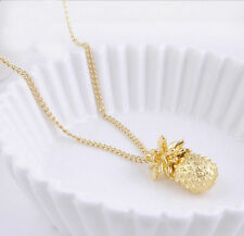 Tiny Pineapple Cute Fruit Charm Pendant Gold Plated Long Chain Necklace Women