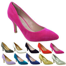 WOMENS LADIES LOW MID KITTEN HEEL PUMPS POINTED TOE COURT WORK OFFICE SHOES SIZE
