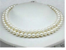 """HOT 2 ROW 8MM WHITE SHELL PEARLS NECKLACE 18""""-19 ''AAA"""