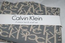 NEW CALVIN KLEIN SCARF AND HAT SET GRAY AND TAN MUSHROOM 2PF $96