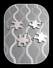 Puzzle Piece Charms Pendants Stamping Blanks Autism Awareness Antiqued Silver
