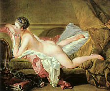 Nice Oil painting francois boucher Nude on a Sofa on bed young beauty canvas 36""