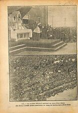 Cardinal O' Connel Mass Soldiers US Army Camp Devens-Ayre WWI 1918 ILLUSTRATION