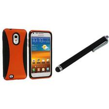 Orange Hybrid Hard Case Gel Cover for Samsung Sprint Galaxy S2 Epic Touch 4G+Pen