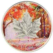 2015 1 Oz Ounce Silver Maple Leaf Coin .9999 Antique Finish Fall Forest Theme