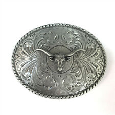 Rodeo Taxes Longhorn Bull Flower Floral Etched Belt Buckle Native Western Cowboy