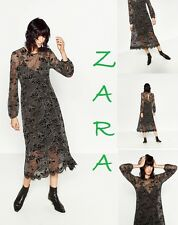 ZARA Lace Double Dress Figured Hem Long Sleeve New (RT$99.90) Midi Dress Size M