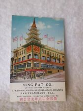 1920s Advertising Postcard SING FAT Chinese Bazaar San Francisco Pacific Novelty