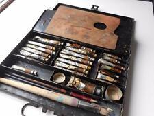 ANTIQUE VINTAGE WINSOR & NEWTON JAPANNED PORTABLE ARTISTS OIL PAINT SET TIN BOX