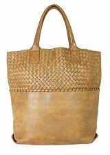 BOTTEGA VENETA Marbled Brown Intrecciato Woven Leather Large Tote Bag