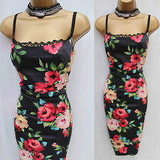 Karen Millen Black Vintage Roses Floral Print Lace Trim Wiggle Cocktail Dres 8UK