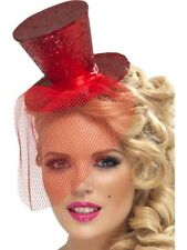 Ladies Womens Girls Fever Sexy Mini Top Hat Headband Red Fancy Dress Burlesque