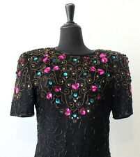 vtg 80s SILK SEQUIN BEADED cocktail DRESS size LARGE evening