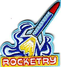 """""""ROCKETRY"""" w/ROCKET- Iron On Embroidered Applique /Aircraft, Outer Space,Science"""
