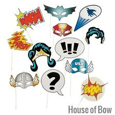 Super Hero Photo Booth Costume Props Stick Pack of 12 Party Wedding Fun