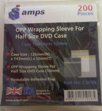 Amps Clear 10mm DVD CD Case Wrapping Sleeve Wraps - 200 PACK