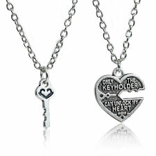 Best Friend Key Knock Love Heart Alloy Pendant Necklace Vintage Charm Women