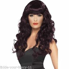 Women's Girls Plum Siren Wigs 80's Glamour Fancy Dress Outfit Wig Wonder Woman