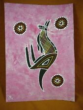 AUS-10 Kangaroo pink Australian Native Aboriginal PAINTING dot Artwork T Morgan