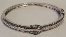 New Womens Jewelry Silverspeck Black & White Diamond Belt Buckle Bangle Bracelet