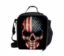 Fashion America Flag Skull Lunch Bag Boys Insulated School Lunch Box Container