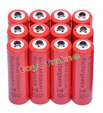 Allarme12xAA3000mAh2A 1.2V Ni-Mh Colore Rosso Batteria ricaricabile Clock MP3 RC