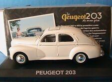 PEUGEOT 203 DE MON PERE 1948 1960 EDITIONS ATLAS 1/43 BLANC CREME LH DRIVE