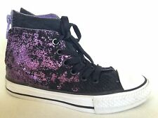 Converse All Star Hollyhock Black And Purple Girls High Top Shoes 12 Youth